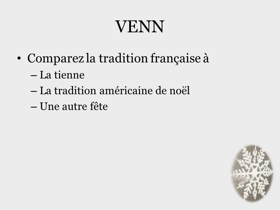 VENN Comparez la tradition française à – La tienne – La tradition américaine de noël – Une autre fête