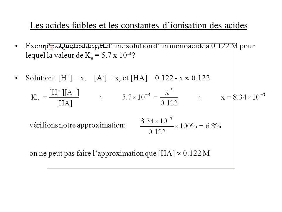 Les acides faibles et les constantes dionisation des acides Exemple: Quel est le pH dune solution dun monoacide à 0.122 M pour lequel la valeur de K a = 5.7 x 10 -4 .