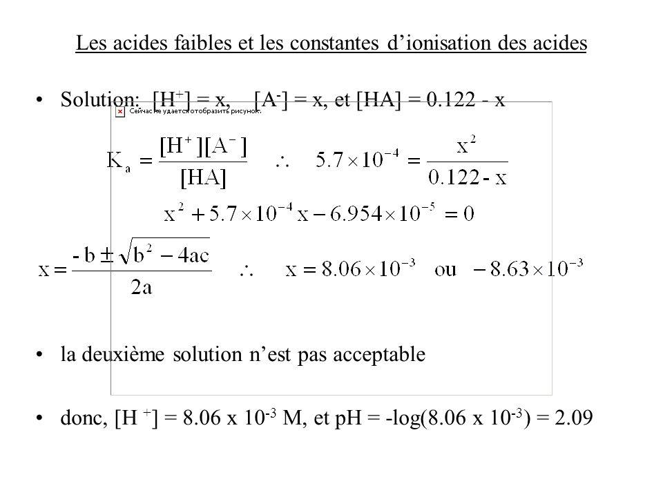 Les acides faibles et les constantes dionisation des acides Solution: [H + ] = x, [A - ] = x, et [HA] = 0.122 - x la deuxième solution nest pas accept