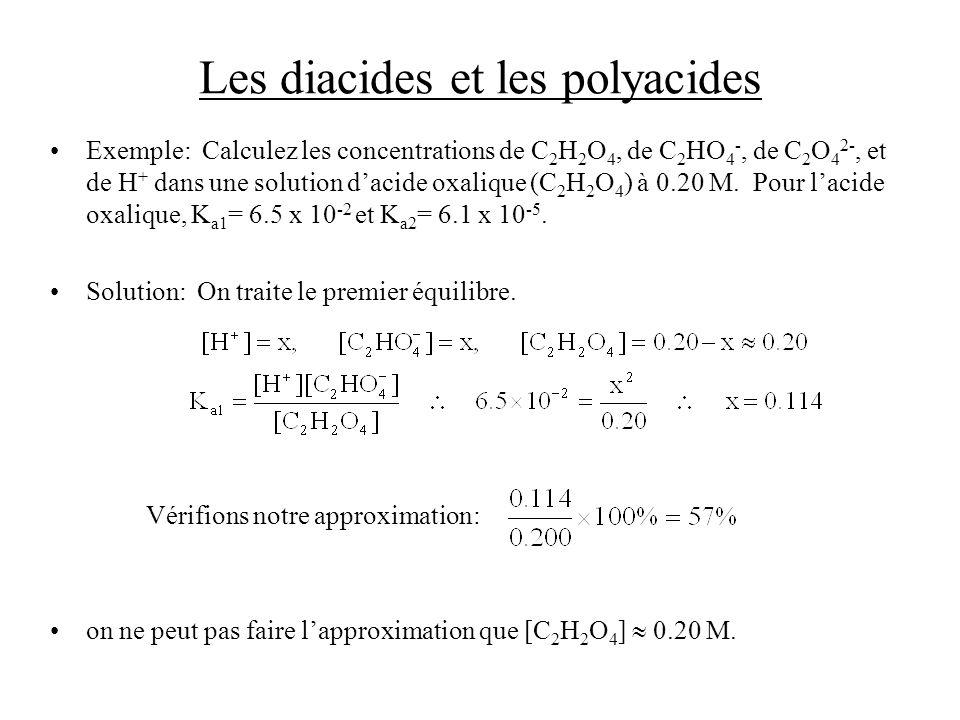 Les diacides et les polyacides Exemple: Calculez les concentrations de C 2 H 2 O 4, de C 2 HO 4 -, de C 2 O 4 2-, et de H + dans une solution dacide oxalique (C 2 H 2 O 4 ) à 0.20 M.