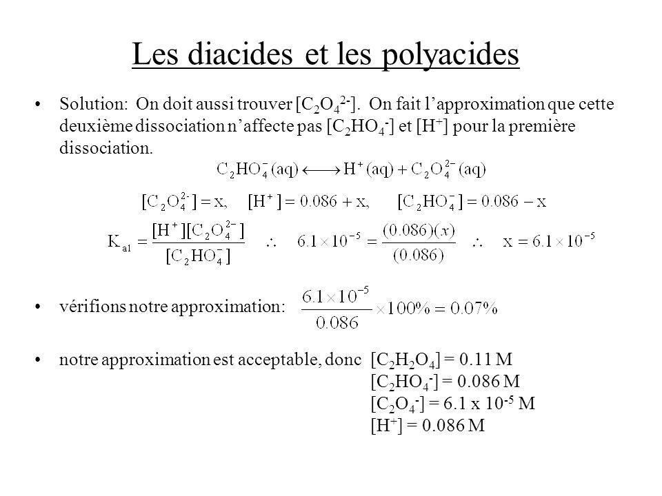 Les diacides et les polyacides Solution: On doit aussi trouver [C 2 O 4 2- ]. On fait lapproximation que cette deuxième dissociation naffecte pas [C 2