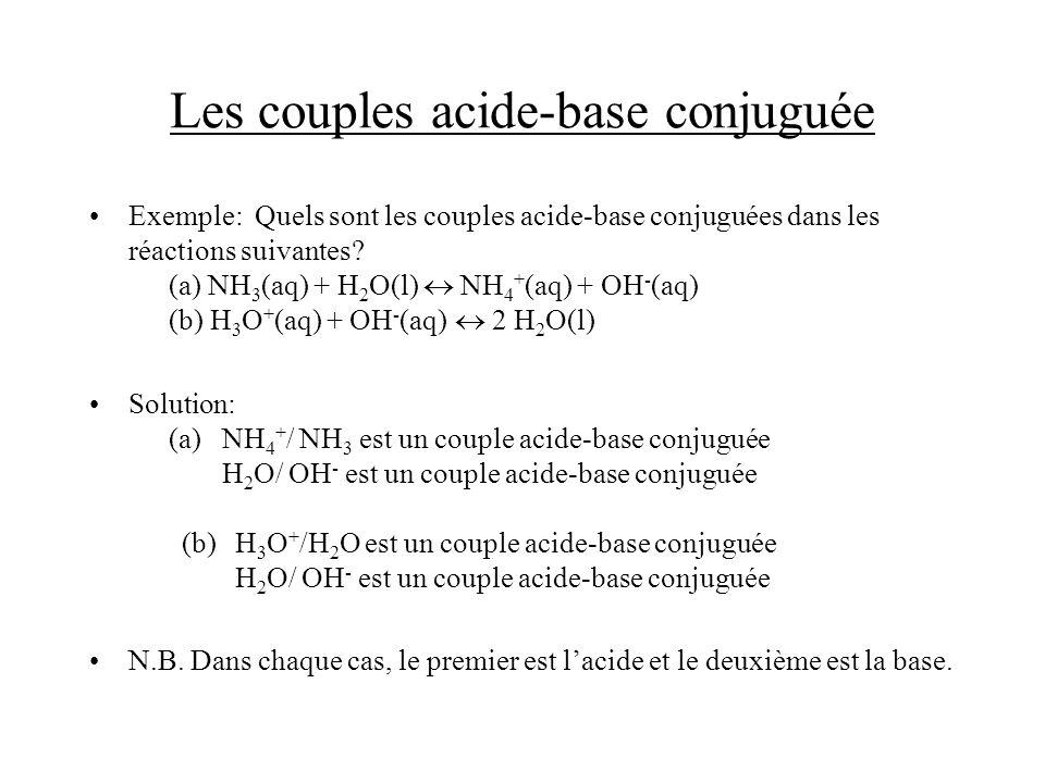 Les propriétés acido-basiques de leau on vient de voir que leau peut donner un proton (et devenir OH - ) ou accepter un proton (et devenir H 3 O + ): leau est donc acide et basique leau peut sauto-ioniser: 2 H 2 O(l) H 3 O + (aq) + OH - (aq) la constante déquilibre, à 25 o C, pour lauto-ionisation est (utilisant H + pour simplifier): les concentrations de H + et OH - sont reliées une à lautre si une est haute, lautre est basse, car leur produit est fixe dans une solution neutre, [H + ] = [OH - ] = 1.0 x 10 -7 M