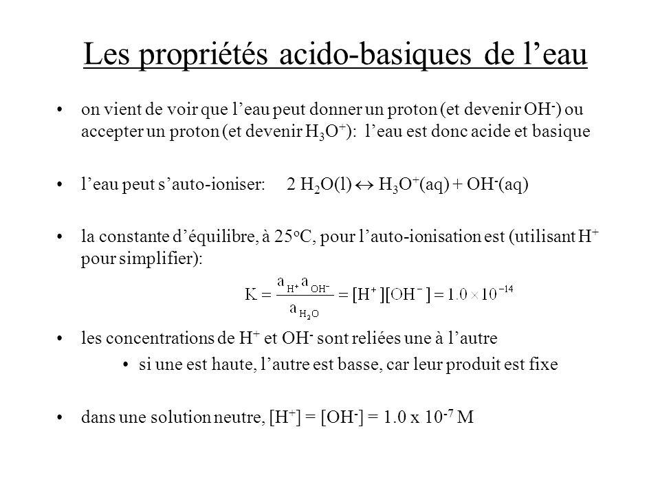 Les acides faibles et les constantes dionisation des acides Solution: [H + ] = x, [A - ] = x, et [HA] = 0.122 - x la deuxième solution nest pas acceptable donc, [H + ] = 8.06 x 10 -3 M, et pH = -log(8.06 x 10 -3 ) = 2.09