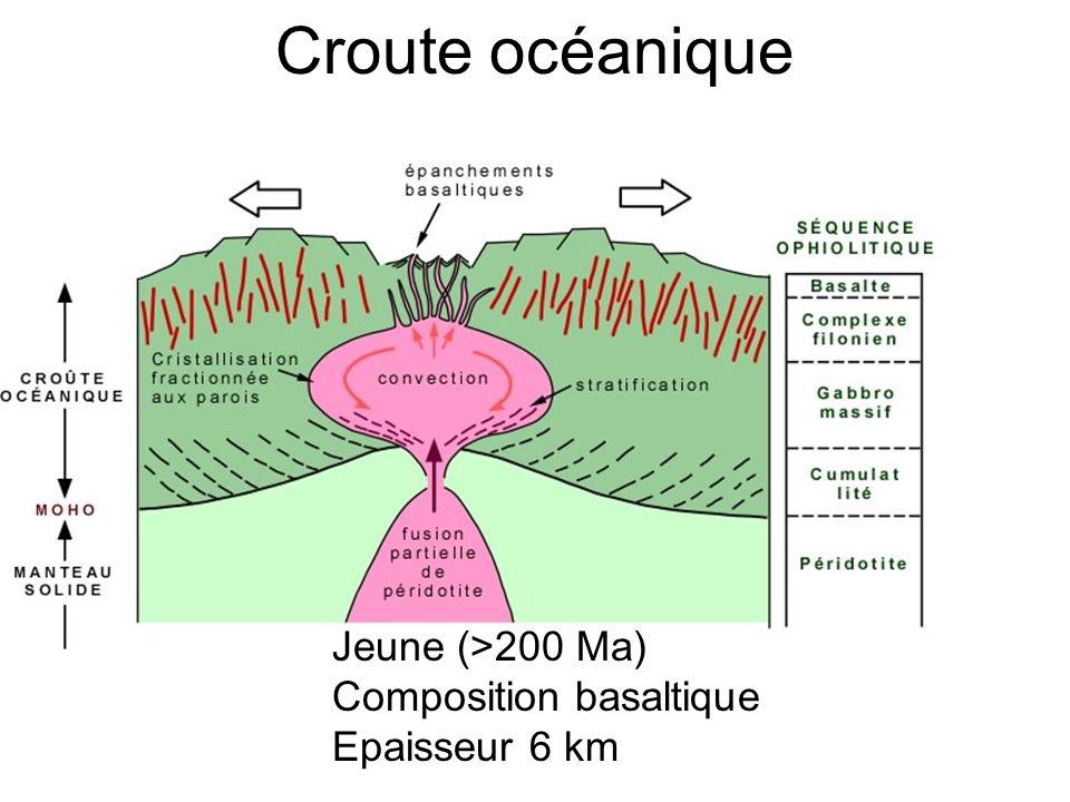 Croute océanique Jeune (>200 Ma) Composition basaltique Epaisseur 6 km