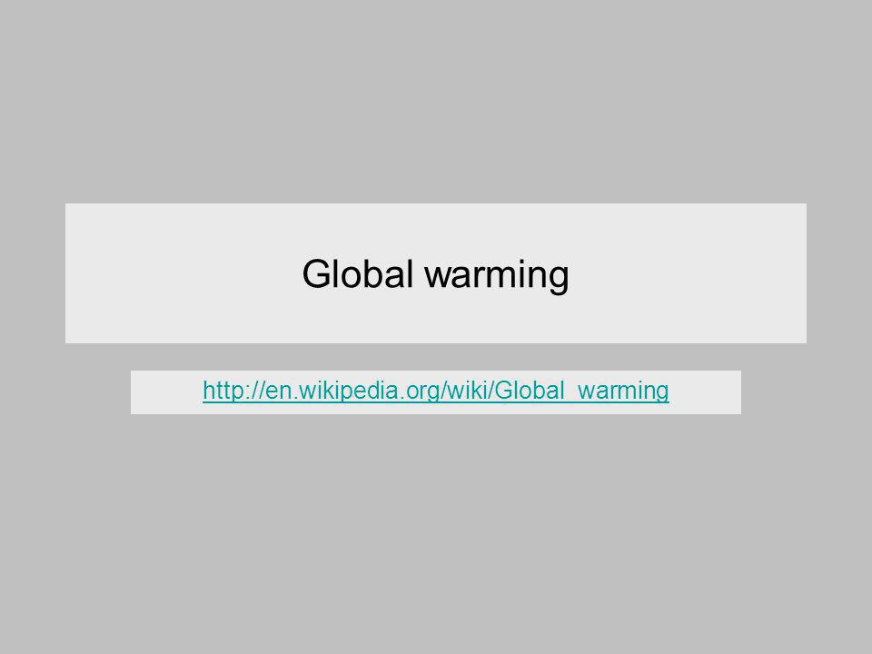 Global warming http://en.wikipedia.org/wiki/Global_warming