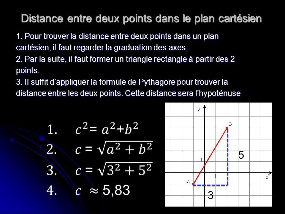 Distance entre deux points dans le plan cartésien 1. Pour trouver la distance entre deux points dans un plan cartésien, il faut regarder la graduation