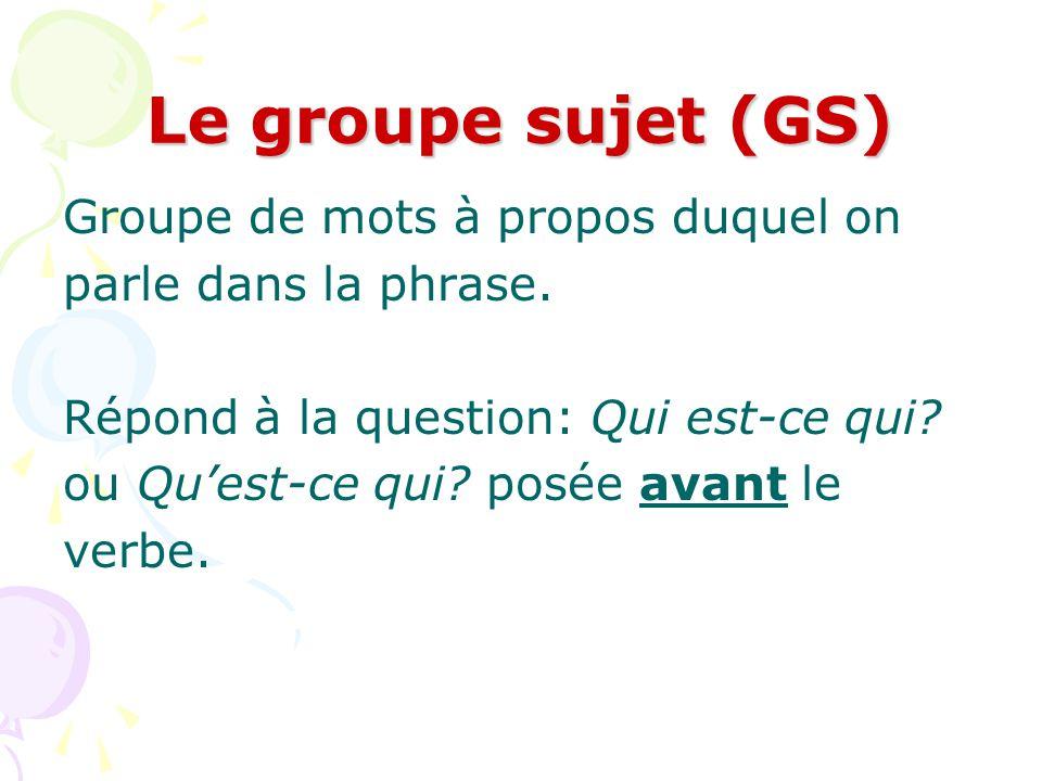 Trouvez les Groupes du verbe et les Groupes compléments de phrase 1.Le train avance très lentement.