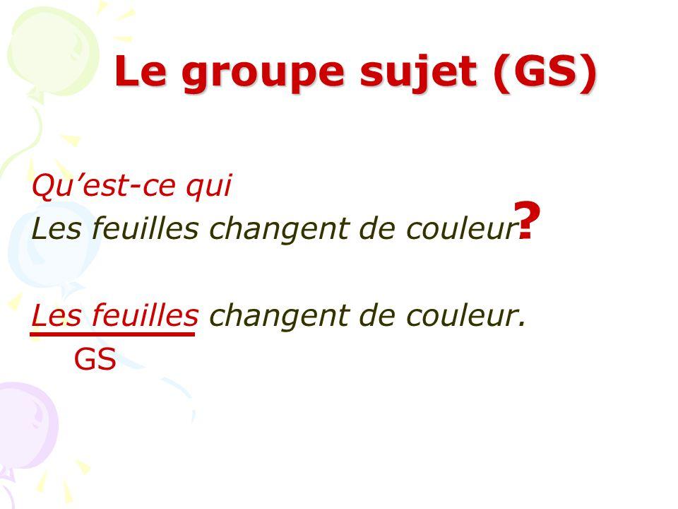 Le groupe sujet (GS) Qui est-ce qui Lucie semble heureuse. Lucie semble heureuse. GS ?