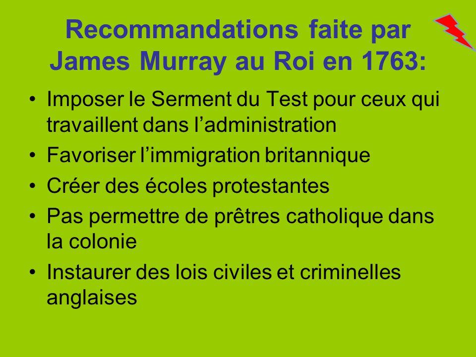 Recommandations faite par James Murray au Roi en 1763: Imposer le Serment du Test pour ceux qui travaillent dans ladministration Favoriser limmigratio