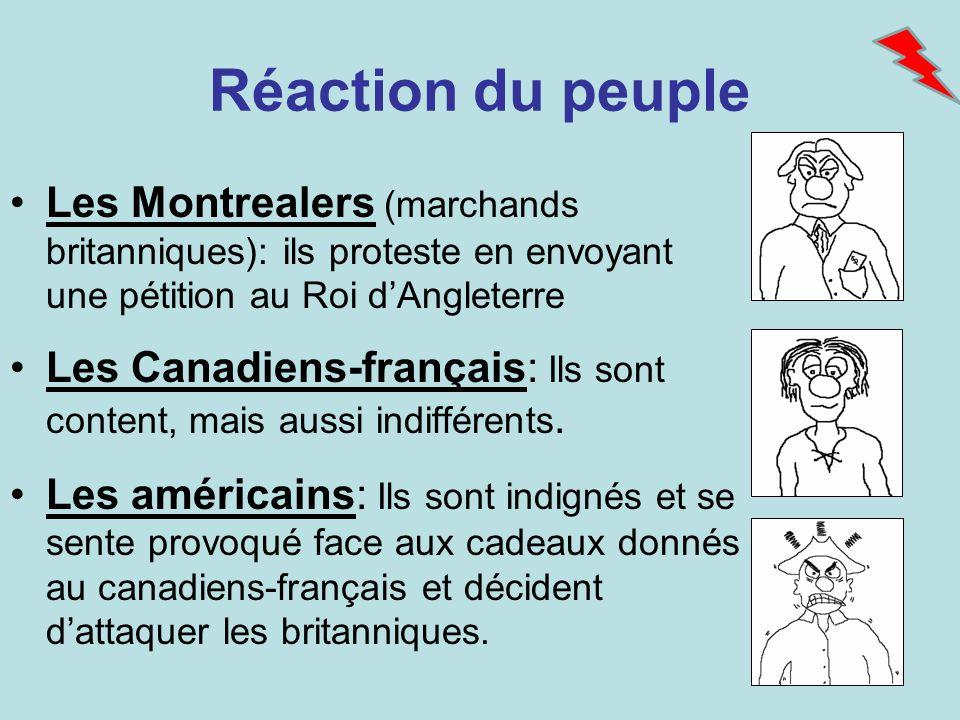 Réaction du peuple Les Montrealers (marchands britanniques): ils proteste en envoyant une pétition au Roi dAngleterre Les Canadiens-français: Ils sont
