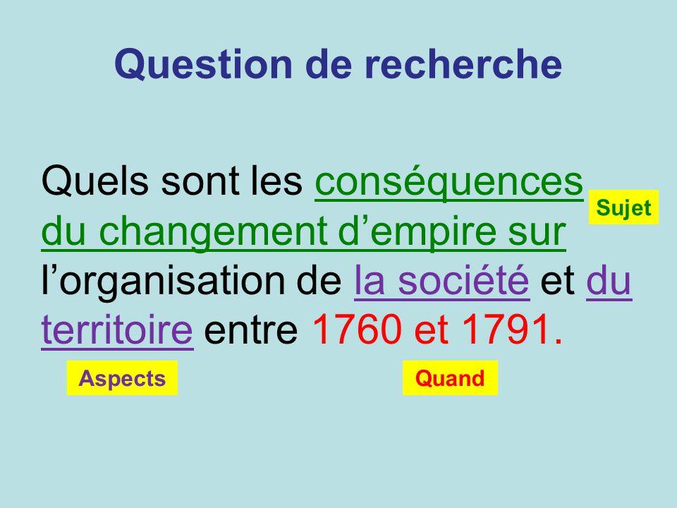 Question de recherche Quels sont les conséquences du changement dempire sur lorganisation de la société et du territoire entre 1760 et 1791. Sujet Asp