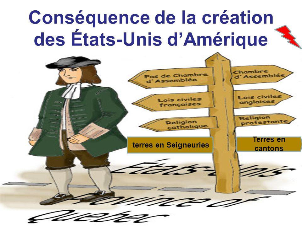 Conséquence de la création des États-Unis dAmérique terres en Seigneuries Terres en cantons