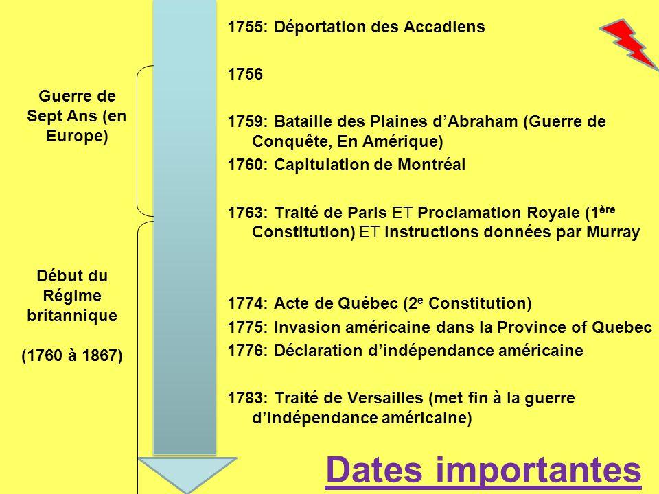 1755: Déportation des Accadiens 1756 1759: Bataille des Plaines dAbraham (Guerre de Conquête, En Amérique) 1760: Capitulation de Montréal 1763: Traité