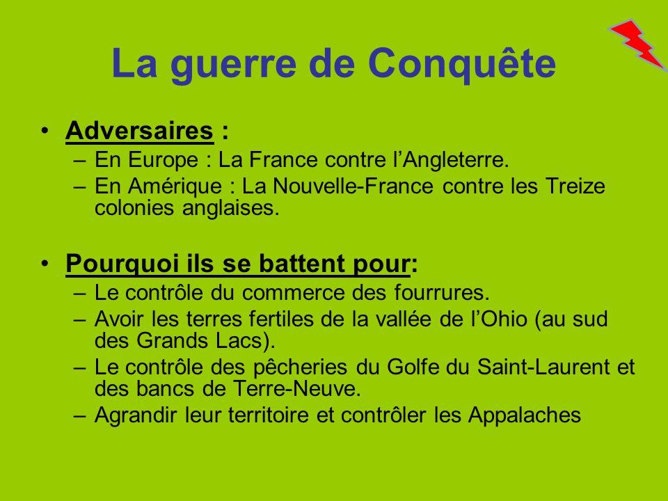 La guerre de Conquête Adversaires : –En Europe : La France contre lAngleterre. –En Amérique : La Nouvelle-France contre les Treize colonies anglaises.