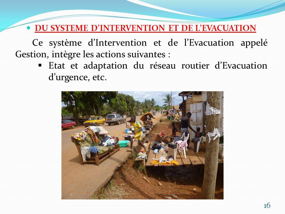 DU SYSTEME DINTERVENTION ET DE LEVACUATION Ce système dIntervention et de lEvacuation appelé Gestion, intègre les actions suivantes : Etat et adaptati