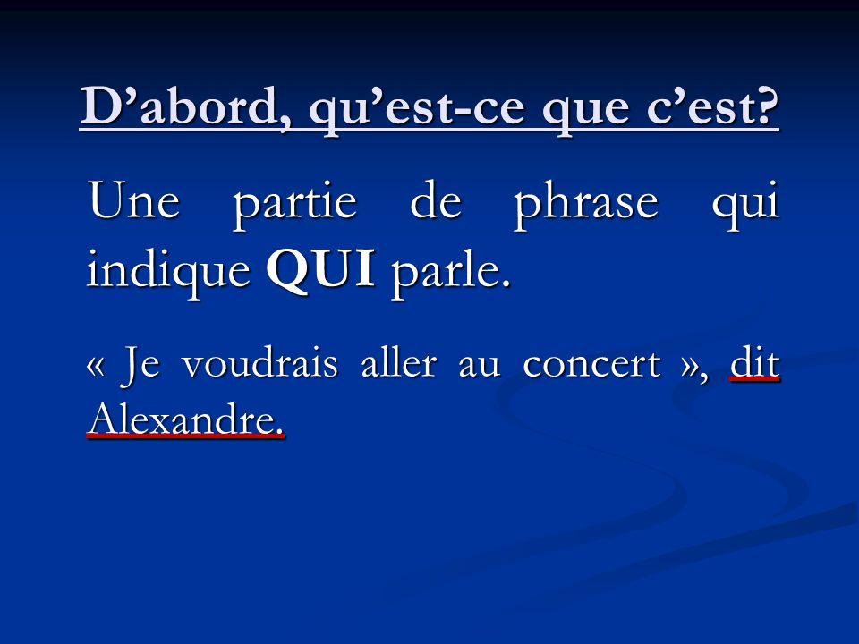 Dabord, quest-ce que cest? Une partie de phrase qui indique QUI parle. « Je voudrais aller au concert », dit Alexandre.