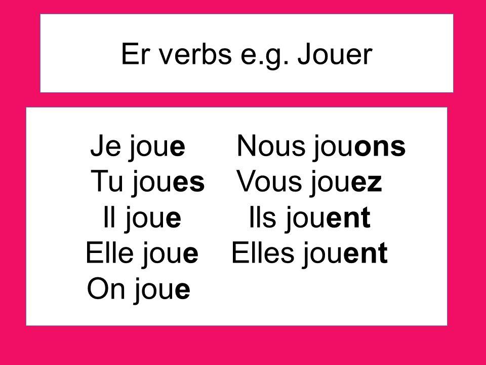 ER verbs with the letter G before ER... Manger = Nous mangeons