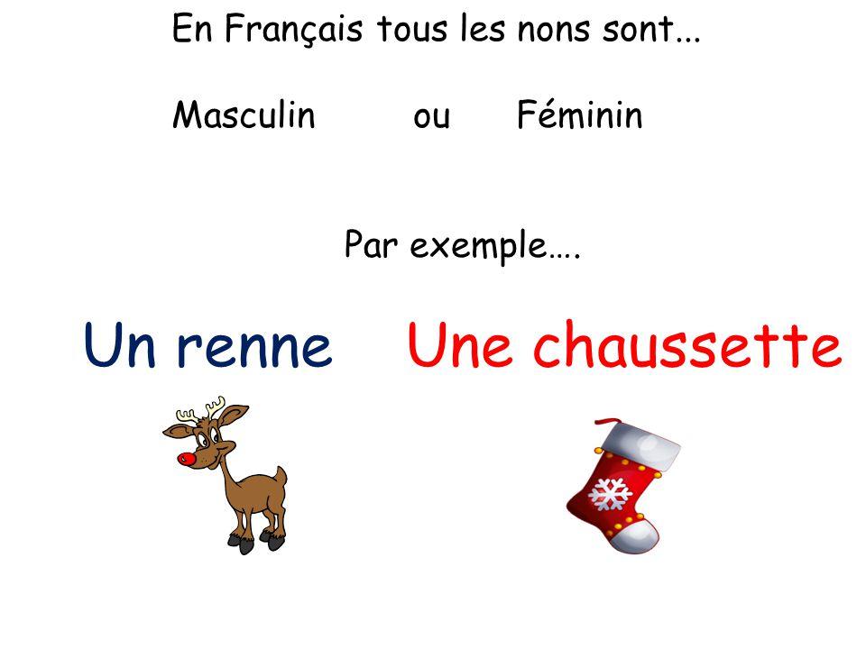 En Français tous les nons sont... Masculin ou Féminin Par exemple…. Un renne Une chaussette