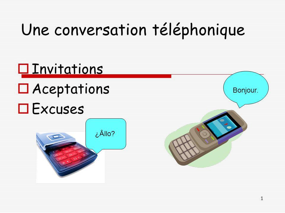 1 Une conversation téléphonique Invitations Aceptations Excuses ¿Âllo? Bonjour.