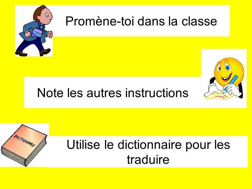 Promène-toi dans la classe Note les autres instructions Utilise le dictionnaire pour les traduire