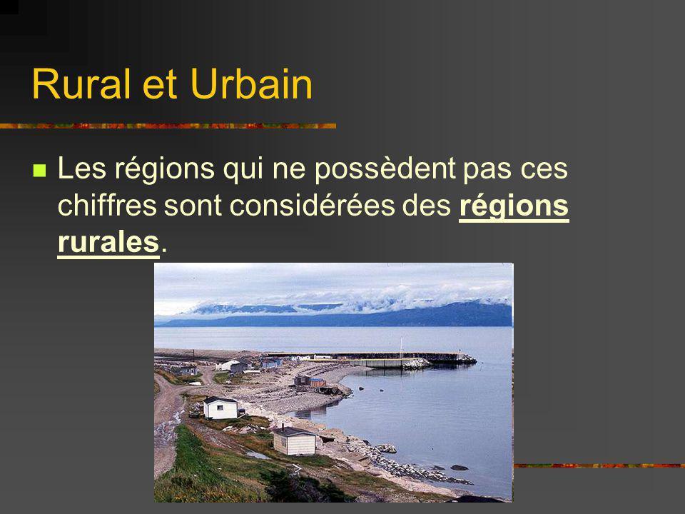 Rural et Urbain Les régions qui ne possèdent pas ces chiffres sont considérées des régions rurales.