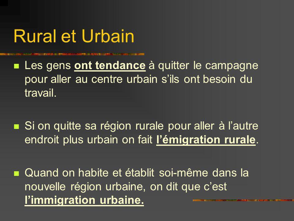 Rural et Urbain Les gens ont tendance à quitter le campagne pour aller au centre urbain sils ont besoin du travail. Si on quitte sa région rurale pour