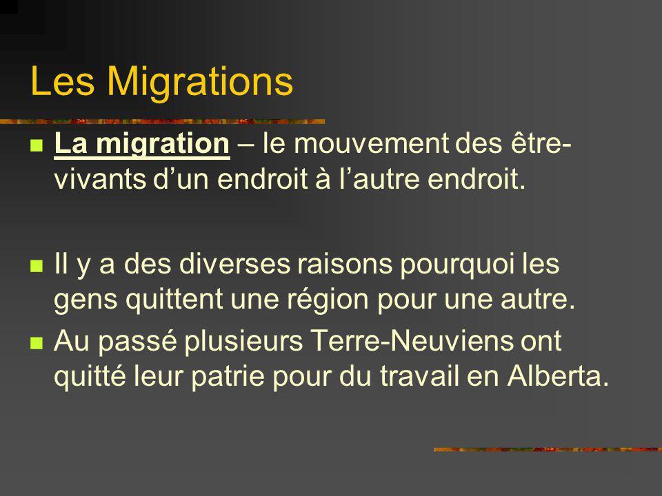 Les Migrations La migration – le mouvement des être- vivants dun endroit à lautre endroit. Il y a des diverses raisons pourquoi les gens quittent une