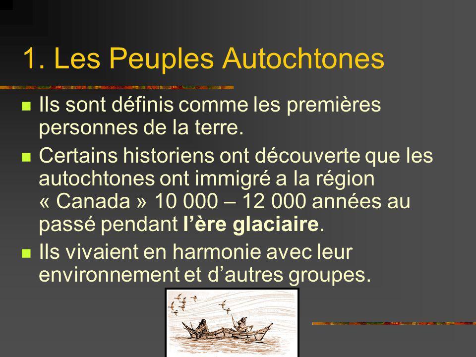 1. Les Peuples Autochtones Ils sont définis comme les premières personnes de la terre. Certains historiens ont découverte que les autochtones ont immi
