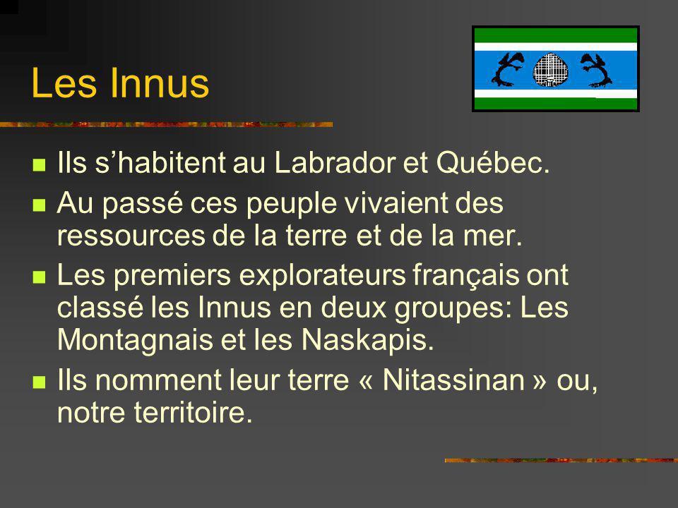 Les Innus Ils shabitent au Labrador et Québec. Au passé ces peuple vivaient des ressources de la terre et de la mer. Les premiers explorateurs françai