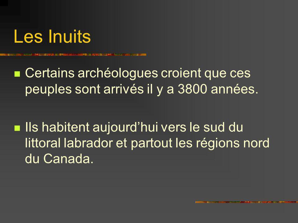 Les Inuits Certains archéologues croient que ces peuples sont arrivés il y a 3800 années. Ils habitent aujourdhui vers le sud du littoral labrador et
