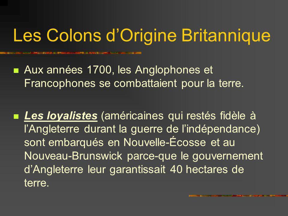 Les Colons dOrigine Britannique Aux années 1700, les Anglophones et Francophones se combattaient pour la terre. Les loyalistes (américaines qui restés