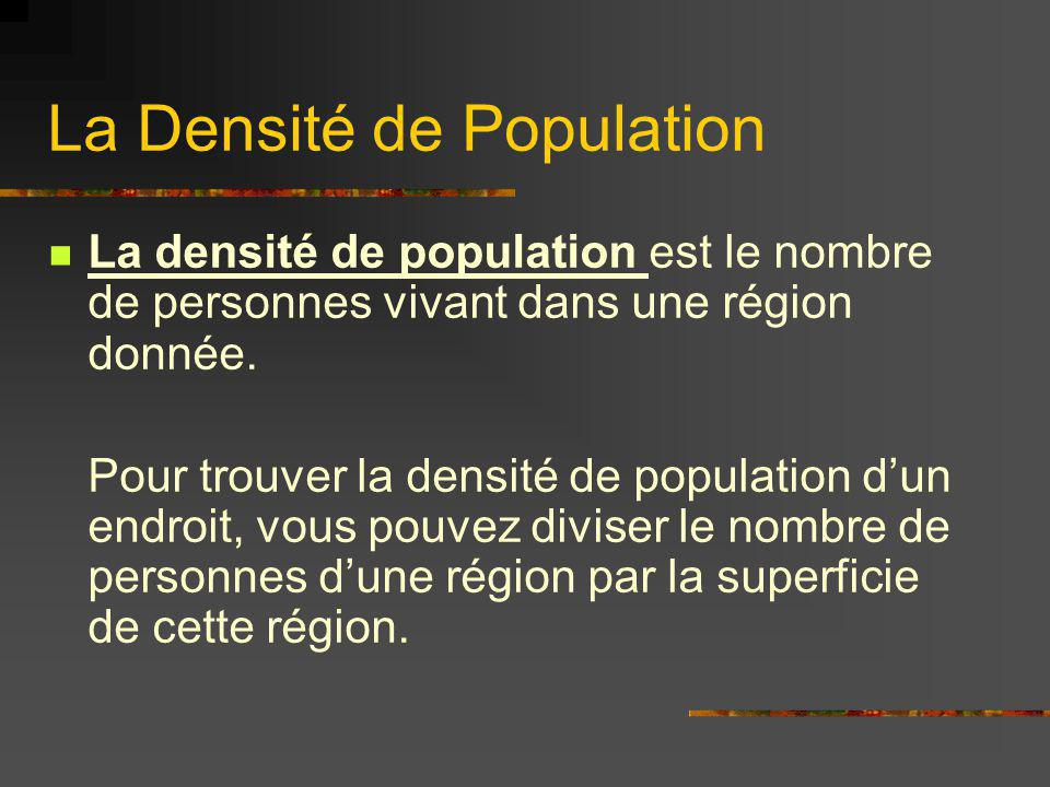 La Densité de Population La densité de population est le nombre de personnes vivant dans une région donnée. Pour trouver la densité de population dun