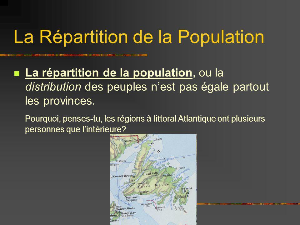 La Répartition de la Population La répartition de la population, ou la distribution des peuples nest pas égale partout les provinces. Pourquoi, penses