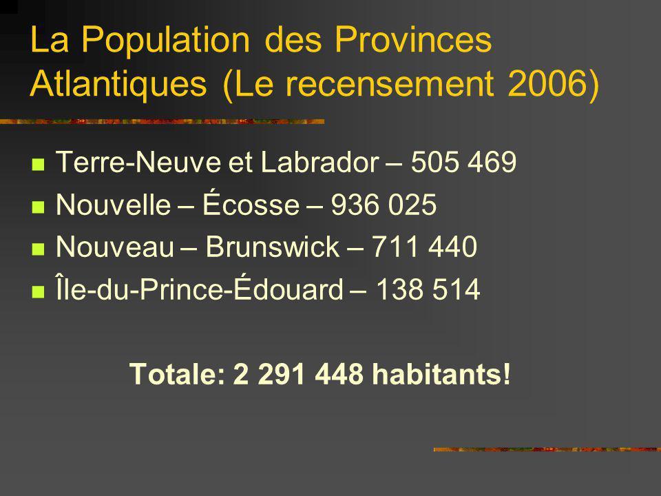 La Population des Provinces Atlantiques (Le recensement 2006) Terre-Neuve et Labrador – 505 469 Nouvelle – Écosse – 936 025 Nouveau – Brunswick – 711
