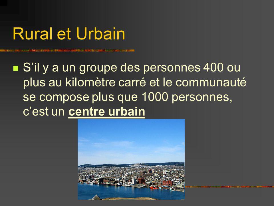 Rural et Urbain Sil y a un groupe des personnes 400 ou plus au kilomètre carré et le communauté se compose plus que 1000 personnes, cest un centre urb