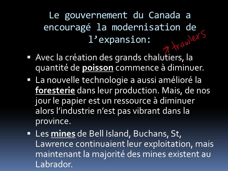 Le développent des industries dans la nouvelle province Terre-Neuve Après 1949, les vielles industries se sont modernisées et de nouvelles industries