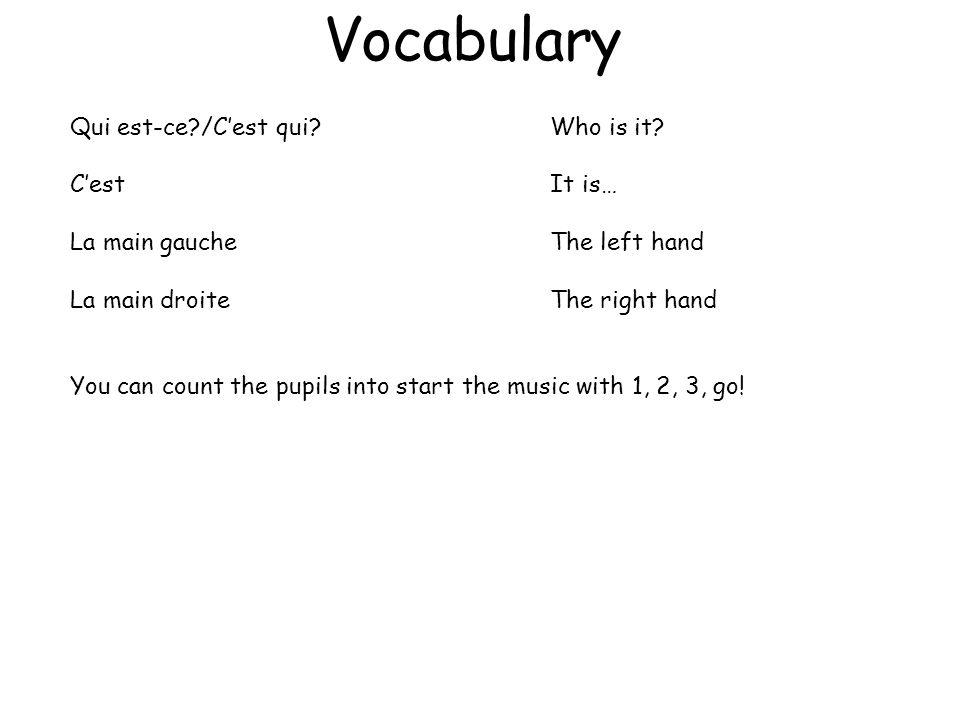 Vocabulaire Un, deux, trois, marchez!1, 2, 3 – walk.