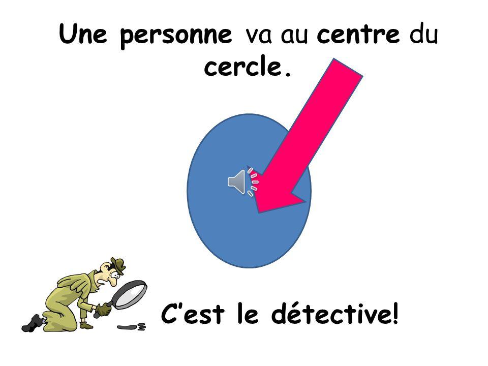 Une personne va au centre du cercle. Cest le détective!