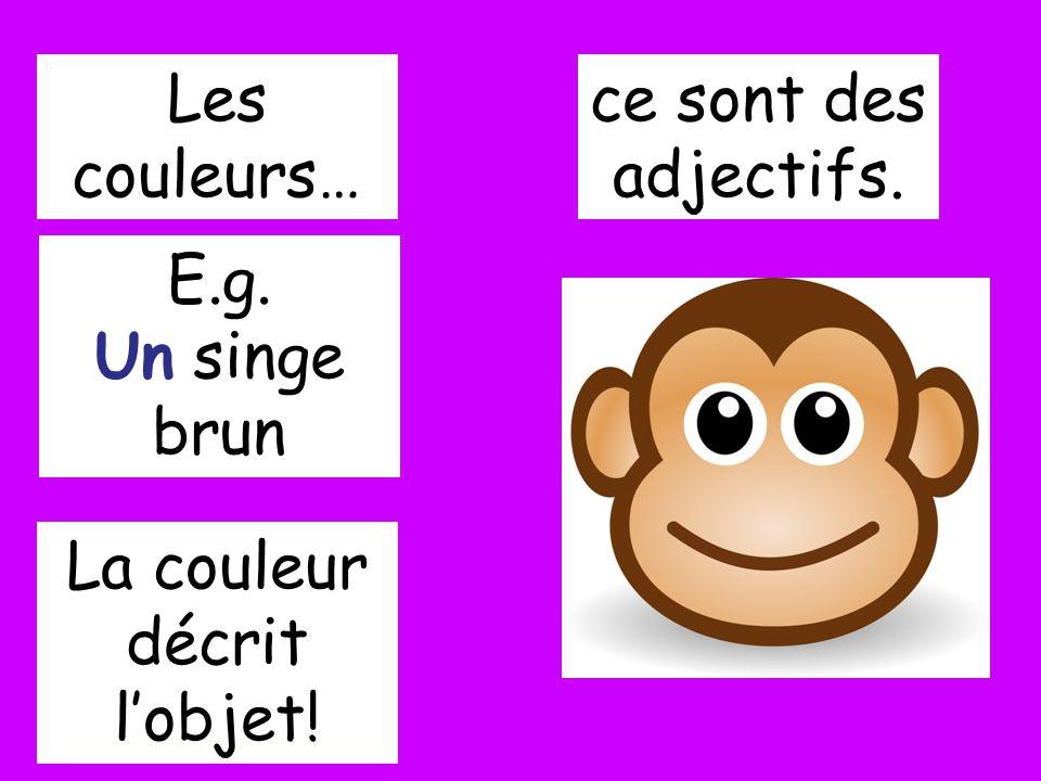 Les couleurs… ce sont des adjectifs. E.g. Un singe brun La couleur décrit lobjet!