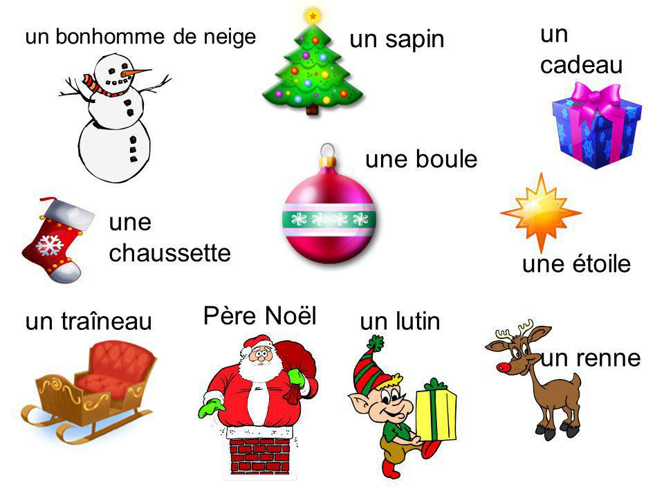 Vocabulaire Joyeux Noël Merry Christmas Bonne AnnéeHappy New Year CherDear (to a boy) ChèreDear (to a girl) mamanmum papadad grand-mèregran grand-père
