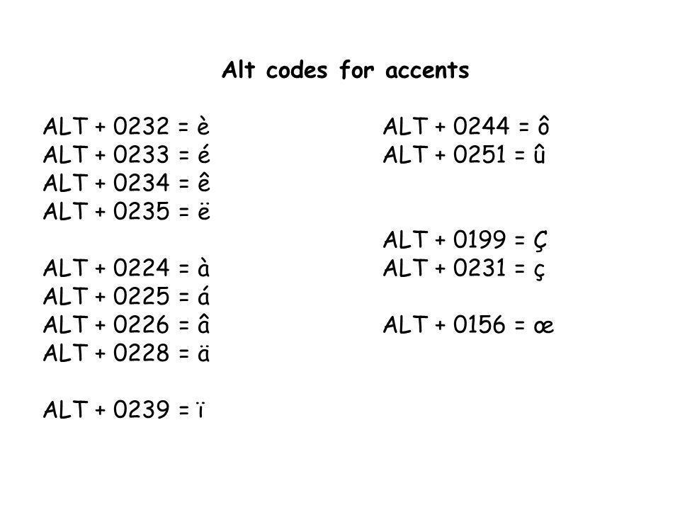 Alt codes for accents ALT + 0232= èALT + 0244 = ô ALT + 0233 = éALT + 0251 = û ALT + 0234 = ê ALT + 0235 = ë ALT + 0199 = Ç ALT + 0224 = àALT + 0231 = ç ALT + 0225 = á ALT + 0226 = âALT + 0156 = œ ALT + 0228 = ä ALT + 0239 = ï