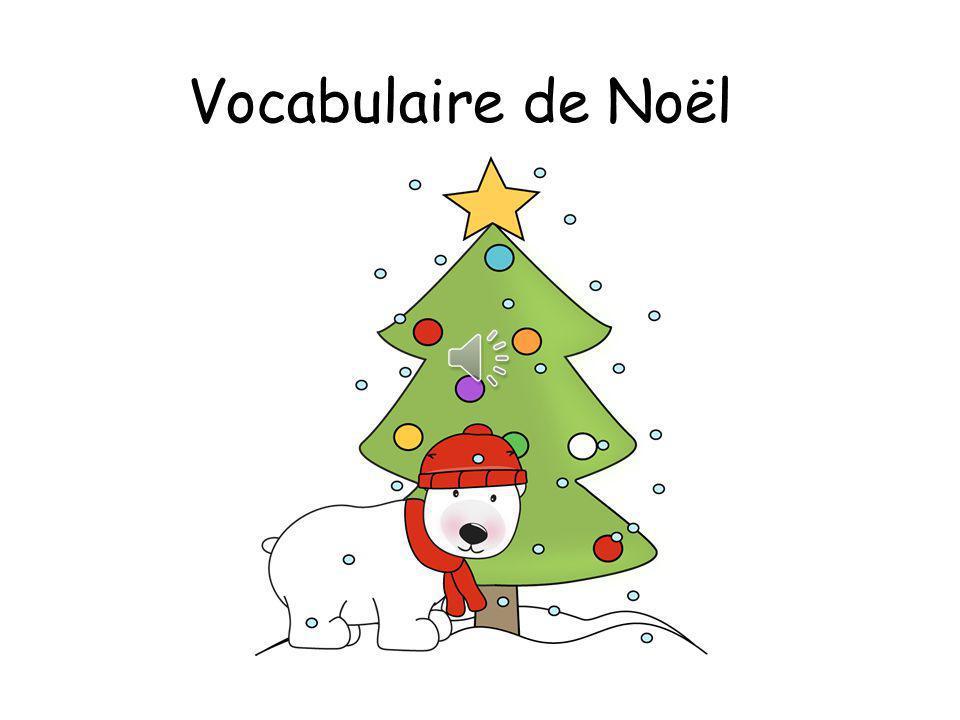 un bonhomme de neige une chaussette un traîneau Père Noël un sapin une boule une étoile un cadeau un renne un lutin