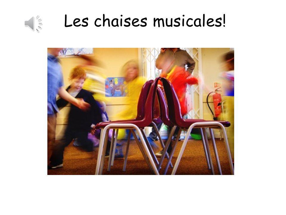 Vocabulaire Un, deux, trois, marchez!1, 2, 3 – walk! Trouvez une chaise!Find a chair! Asseyez-vous!Sit down Oh non! Tu es éliminé(e)! Oh no, you are o