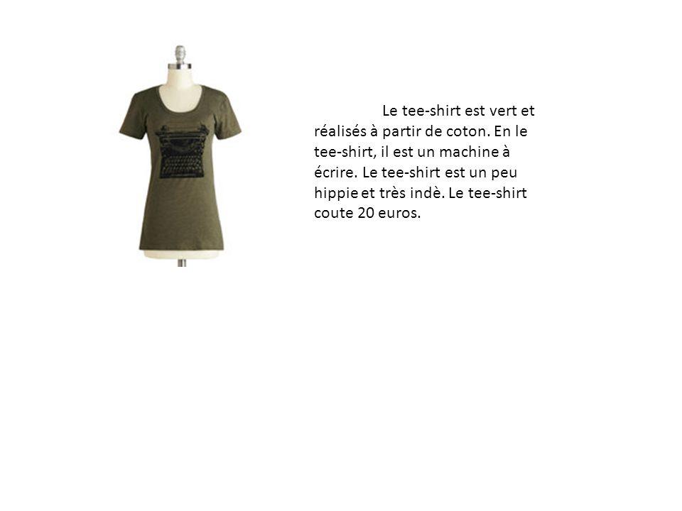 Le tee-shirt est vert et réalisés à partir de coton. En le tee-shirt, il est un machine à écrire. Le tee-shirt est un peu hippie et très indè. Le tee-