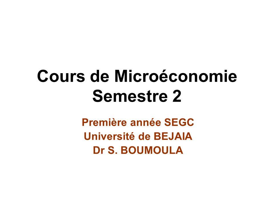 Cours de Microéconomie Semestre 2 Première année SEGC Université de BEJAIA Dr S. BOUMOULA