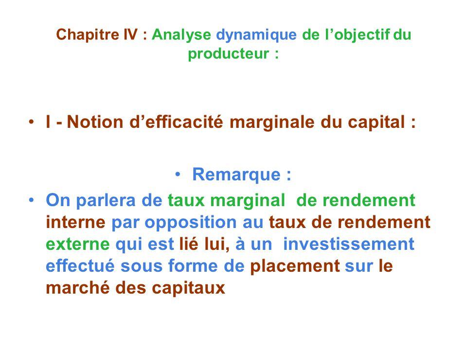 Chapitre IV : Analyse dynamique de lobjectif du producteur : I - Notion defficacité marginale du capital : Remarque : On parlera de taux marginal de rendement interne par opposition au taux de rendement externe qui est lié lui, à un investissement effectué sous forme de placement sur le marché des capitaux