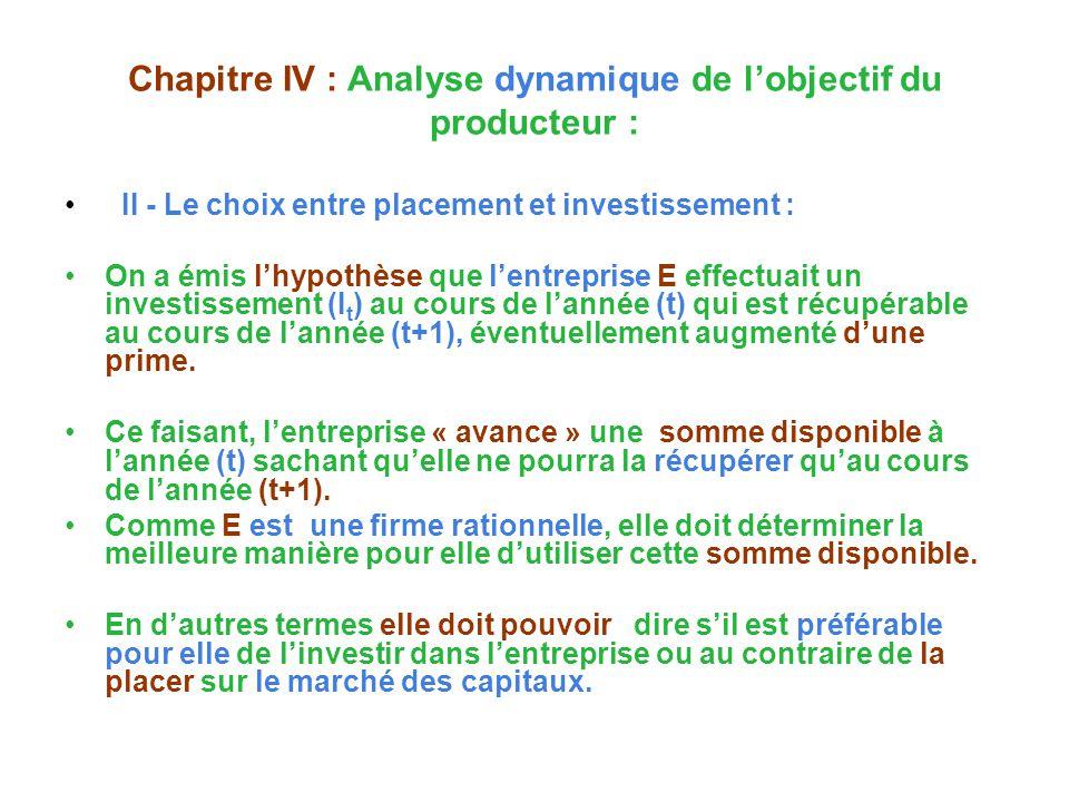 Chapitre IV : Analyse dynamique de lobjectif du producteur : II - Le choix entre placement et investissement : On a émis lhypothèse que lentreprise E effectuait un investissement (I t ) au cours de lannée (t) qui est récupérable au cours de lannée (t+1), éventuellement augmenté dune prime.