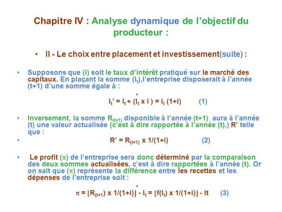 Chapitre IV : Analyse dynamique de lobjectif du producteur : II - Le choix entre placement et investissement(suite) : Supposons que (i) soit le taux dintérêt pratiqué sur le marché des capitaux.