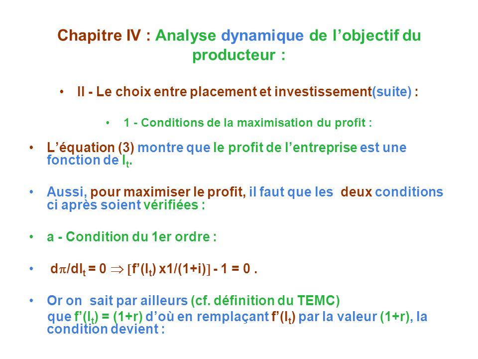 Chapitre IV : Analyse dynamique de lobjectif du producteur : II - Le choix entre placement et investissement(suite) : 1 - Conditions de la maximisation du profit : Léquation (3) montre que le profit de lentreprise est une fonction de I t.