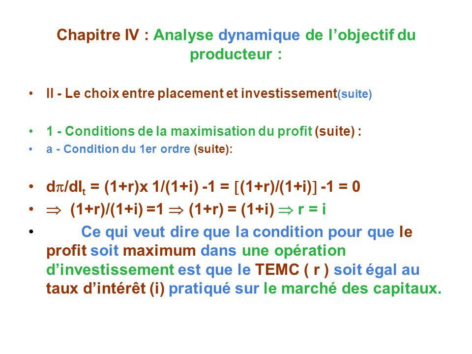 Chapitre IV : Analyse dynamique de lobjectif du producteur : II - Le choix entre placement et investissement (suite) 1 - Conditions de la maximisation du profit (suite) : a - Condition du 1er ordre (suite): d /dI t = (1+r)x 1/(1+i) -1 = (1+r)/(1+i) -1 = 0 (1+r)/(1+i) =1 (1+r) = (1+i) r = i Ce qui veut dire que la condition pour que le profit soit maximum dans une opération dinvestissement est que le TEMC ( r ) soit égal au taux dintérêt (i) pratiqué sur le marché des capitaux.
